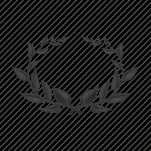 laurel, leaf, nature, tree, wreath icon