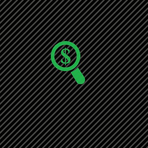dollar, green, search icon