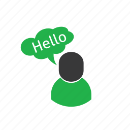 care, customer, green, hello icon