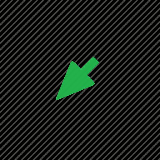 arrow, down, green, left icon