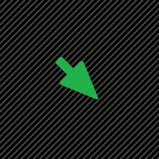 arrow, down, green, right icon