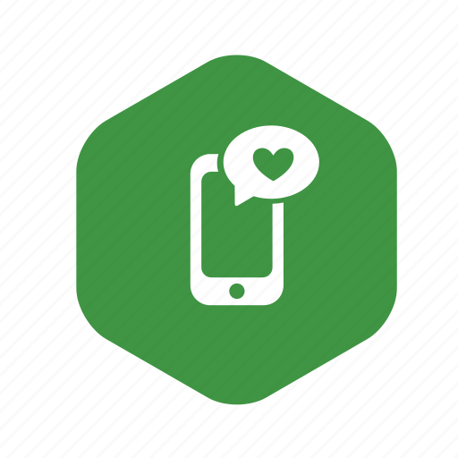 bubble, chat, comment, communication, green, heart, like, message, mobile, phone, smartphone, telephone, touch icon