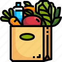 bag, food, grocery, market, paper, shopping, water