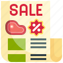 brochure, discount, marketing, meat, sale
