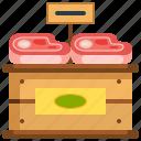 box, food, meat, proteins, steak, supermarket icon