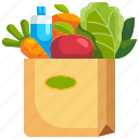 bag, food, grocery, market, paper, shopping, water icon