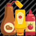 bottles, food, ketchup, mustard, sauce