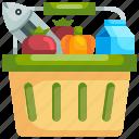 basket, food, shopping, store, supermarkets