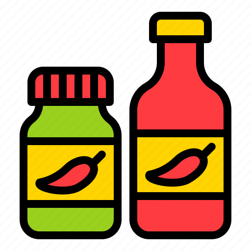 bottle, chili sauce, condiment, grocery, shop icon