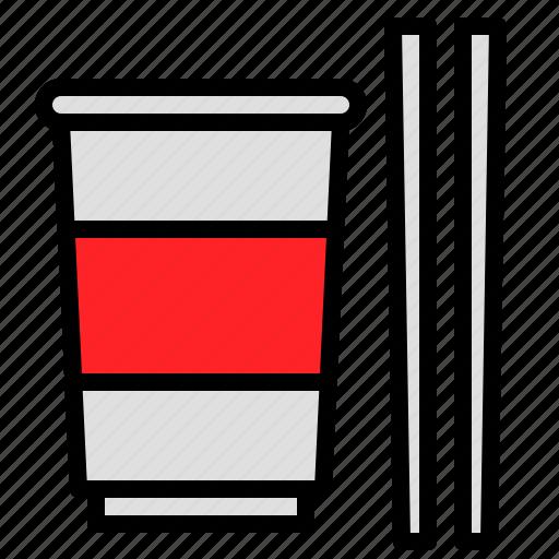 chopstick, cup, grocery, instant noodles, shop icon