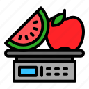 fruit, digital scale, weight, grocery, scale, shop icon
