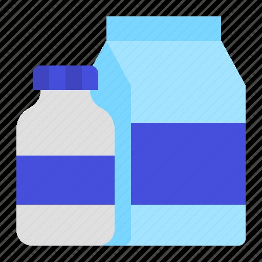 bottle, box, drinks, grocery, milk, shop icon