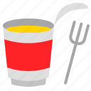 cup, food, fork, grocery, instant noodles, shop icon