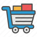 cart, ecommerce, filled, grocery, retail, shopping, supermarket icon