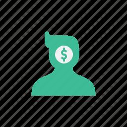 avatar, earn, human, money, think, thinking icon