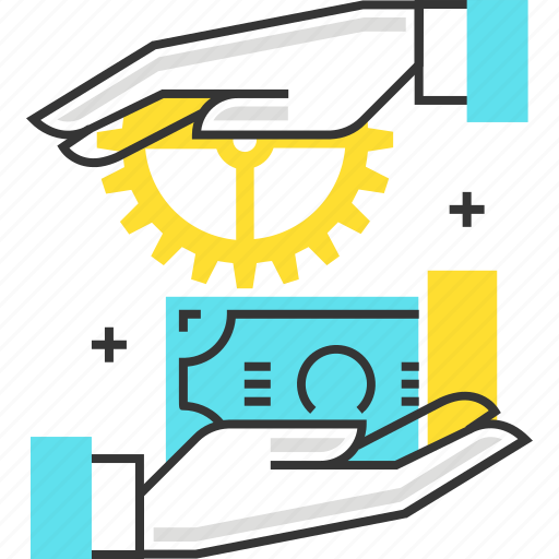 b2c, business, client, gear, hand, money, to icon