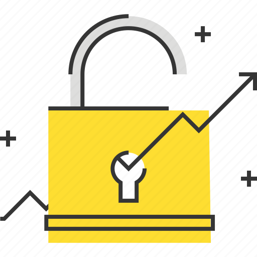 chart, growth, hacking, lock, research, rising, unlock icon