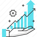 chart, financial, growth, hand, investment, statistics icon