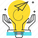 bulb, hands, idea, innovation, lamp, paper plane, start up icon