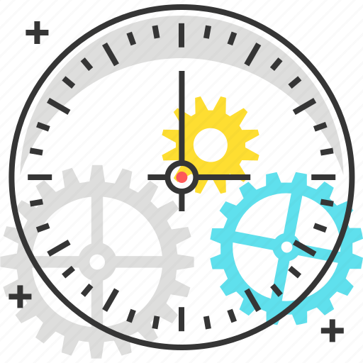 car, clock, early traction, gear, time, watch icon