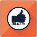approve, good, guarantee, safe, satisfaction, thumbs, warranty icon