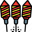 colours, display, explosion, firework, light, rocket, rockets icon