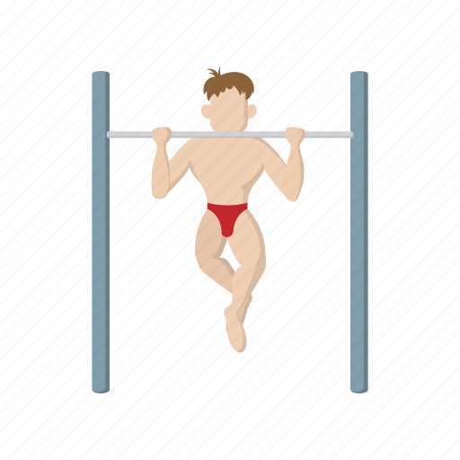 athlete, bar, cartoon, fitness, muscle, nude, sport icon