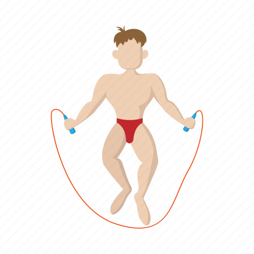 cartoon, exercise, fitness, man, nude, rope, sport icon