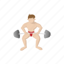 barbell, cartoon, exercise, gym, shoulders, sport, weight icon
