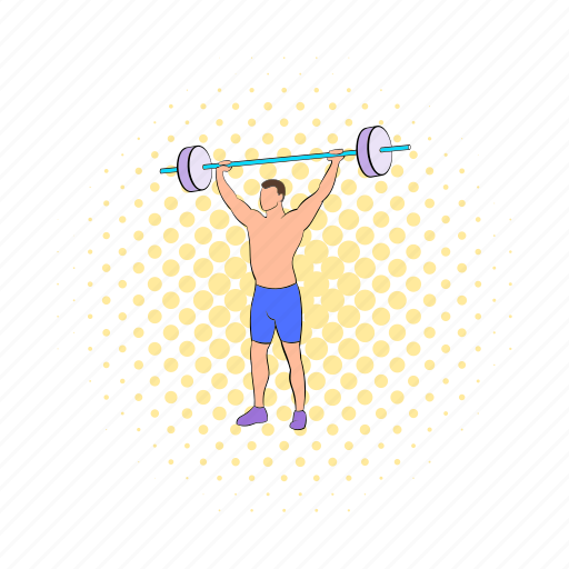 athlete, barbell, comics, exercise, gym, strong, weight icon