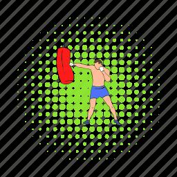 bag, boxer, boxing, comics, male, muscular, sport icon