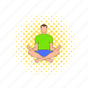comics, lotus, male, man, posture, relaxation, yoga icon