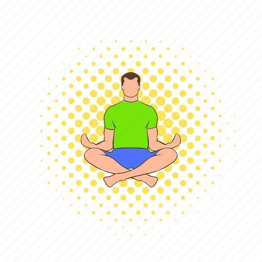 comics, lotus, male, man, posture, relaxation, yoga icon
