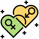 female, gender, heart, male, sex icon