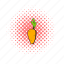 carrot, comics, food, healthy, organic, ripe, vegetable icon