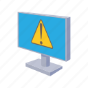 cartoon, computer, monitor, security, technology, warning icon