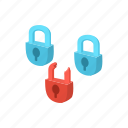 cartoon, padlock, protection, security, technology, virus icon