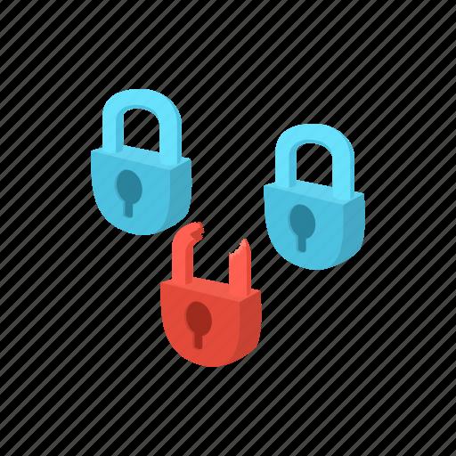 cartoon, padlock, protection, security, technology, virus icon