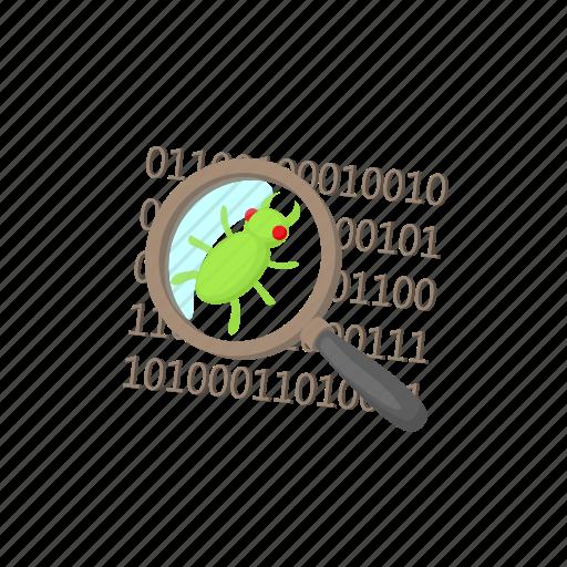 bug, cartoon, code, data, internet, security, virus icon
