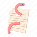 cartoon, document, information, internet, virus, worm icon