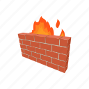 brick, cartoon, fire, lock, secure, server, wall icon