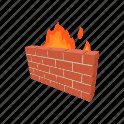 brick, cartoon, fire, lock, secure, server, wall icon