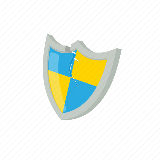 blue, cartoon, protection, secure, security, shield, yellow icon