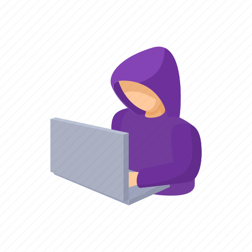cartoon, computer, crime, criminal, hacker, security, virus icon