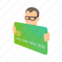 card, cartoon, credit, hacker, money, security, theft icon