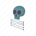 cartoon, chip, circuit, computer, data, digital, skull icon