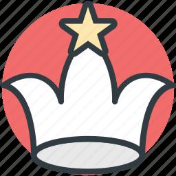 crown, headgear, nobility, royal crown, star crown icon
