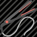 beauty equipment, hair iron, hair straightener, hairdresser, salon tool icon