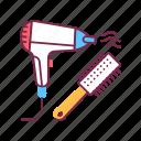beauty, hair, hairbrush, hairdresser, hairdryer, salon, service