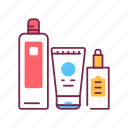 bottle, hairdresser, comprehensive, hair, care, cosmetic, product icon